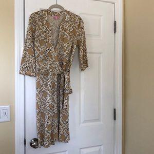 Lilly Pulitzer 100% Silk Wraparound Midi Dress